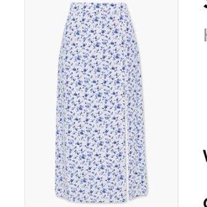 High-Slit Floral Midi Skirt